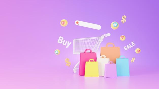 Renderização 3d de sacola de compras e conceito de loja de compras online