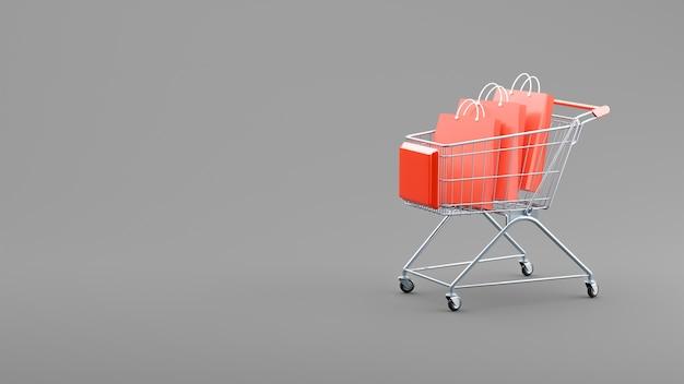 Renderização 3d de sacolas de compras no carrinho