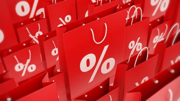 Renderização 3d de sacolas de compras