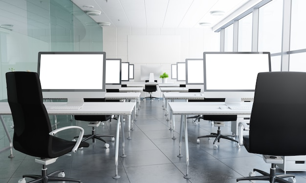 Renderização 3d de sala de aula com telas brancas