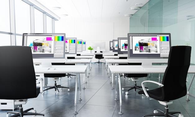 Renderização 3d de sala de aula