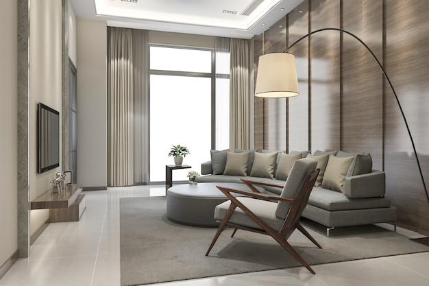 Renderização 3d de sala de estar moderna de luxo
