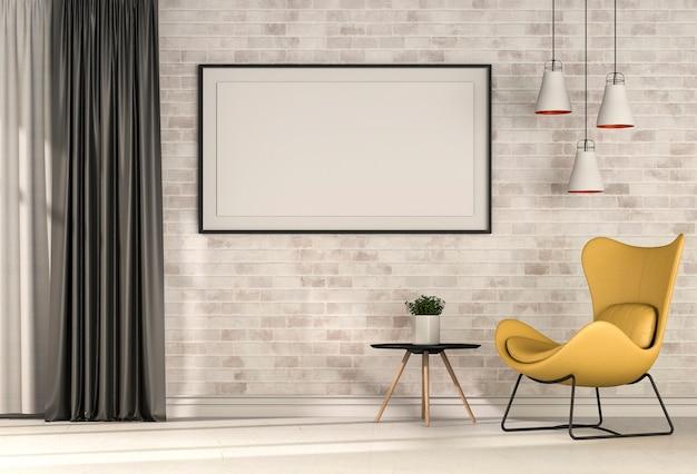 Renderização 3d de sala interior com poltrona