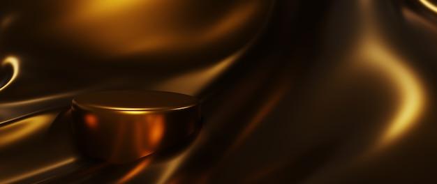 Renderização 3d de seda dourada e pódio. abstrato arte moda base.