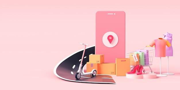 Renderização 3d de serviços de entrega de encomendas
