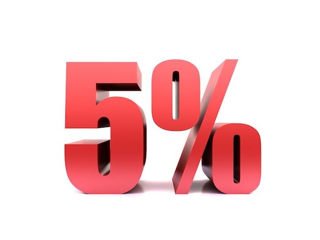 Renderização 3d de símbolo de cinco por cento