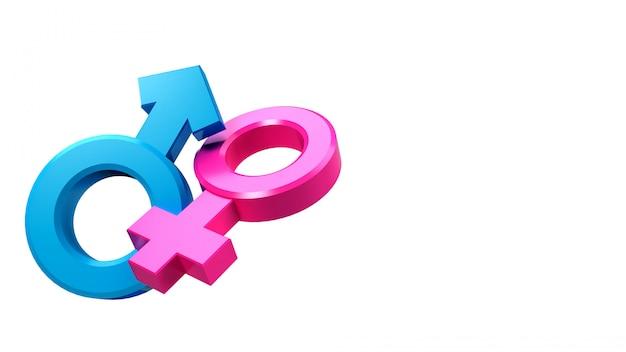 Renderização 3d de símbolos sexuais masculinos e femininos iguais ou que vivem juntos.