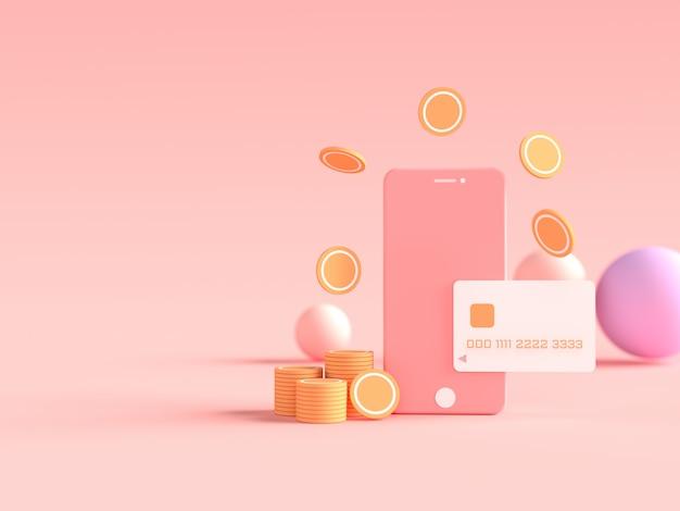 Renderização 3d de smartphone com cartão de crédito