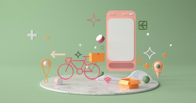 Renderização 3d de smartphone e bicicleta.