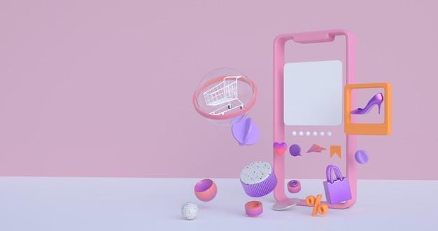 Renderização 3d de smartphone e carrinho de compras.