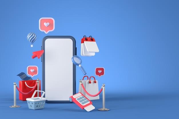 Renderização 3d de smartphone e compras online.