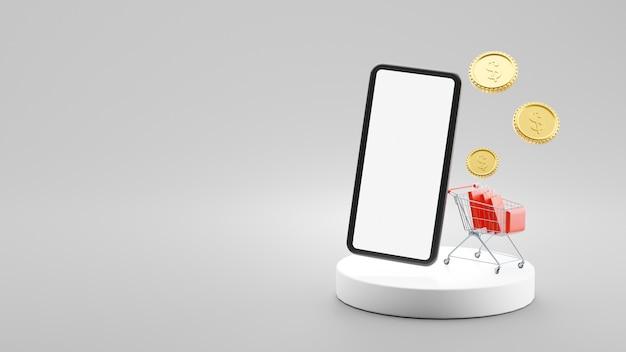 Renderização 3d de smartphone e sacola de compras no carrinho