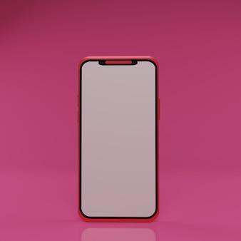 Renderização 3d de smartphone vermelho em fundo rosa