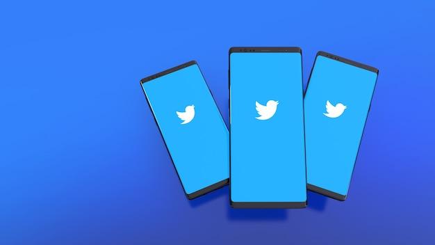 Renderização 3d de smartphones com logotipo do twitter na tela