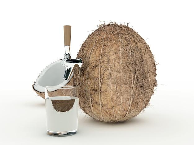 Renderização 3d de suco de coco