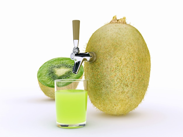 Renderização 3d de suco de kiwi