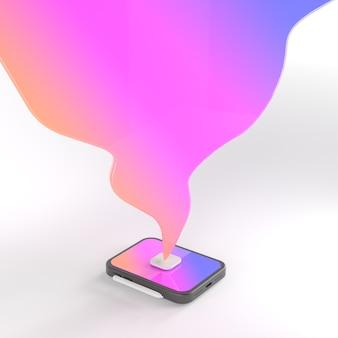Renderização 3d de tablet e balão de fala.