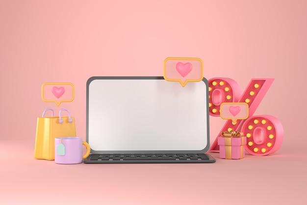 Renderização 3d de tablet e compras online.