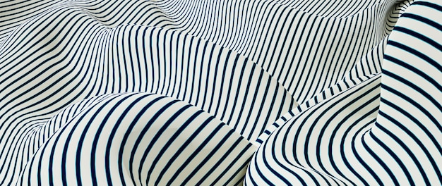 Renderização 3d de tecido branco e azul
