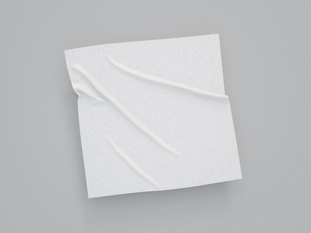 Renderização 3d de tecido branco quadrado