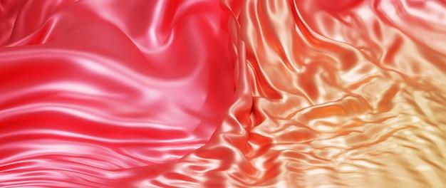 Renderização 3d de tecido vermelho e laranja
