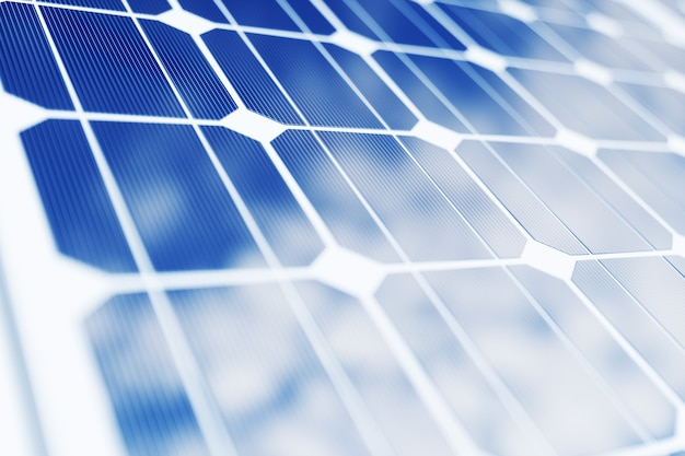 Renderização 3d de tecnologia de geração de energia solar. energia alternativa. módulos de painel de bateria solar com céu azul