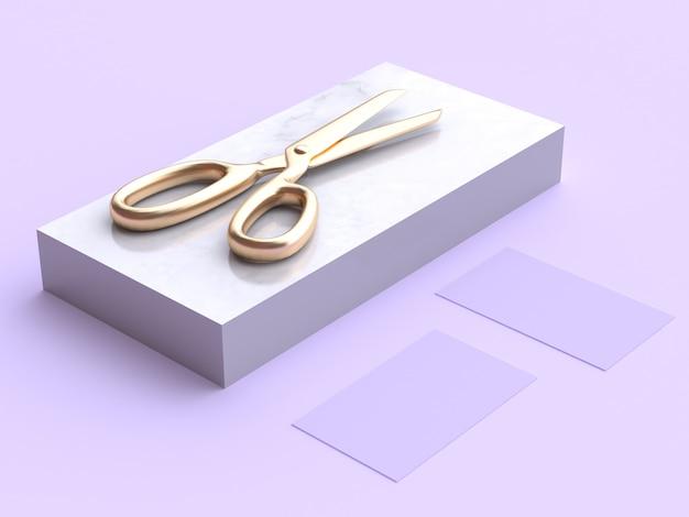 Renderização 3d de tesoura de ouro