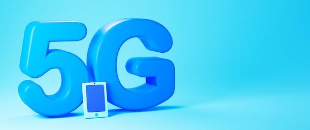 Renderização 3d de texto 5g azul e um smartphone isolado em um banner de fundo azul claro