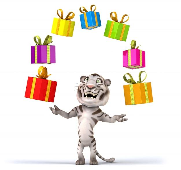 Renderização 3d de tigre engraçado