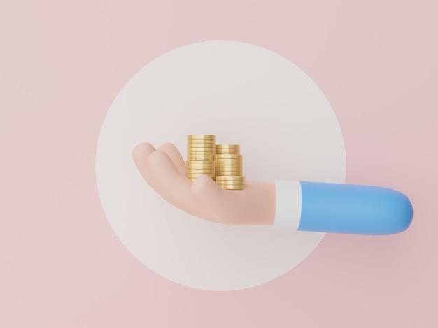 Renderização 3d de tinha segurando uma pilha de moedas de ouro para economizar dinheiro para a meta modelo financeiro de crescimento de conceito