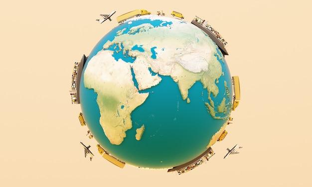 Renderização 3d de transporte de contêiner de carga mundial