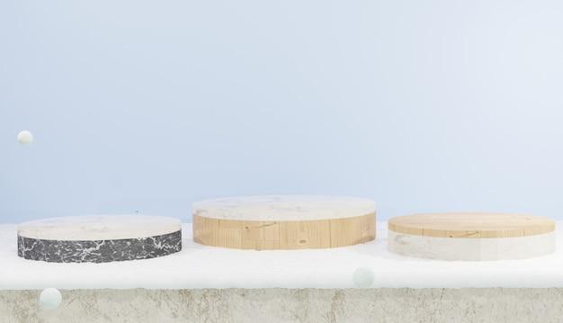 Renderização 3d de três pódio vazio de madeira e mármore coberto com tema de neve e inverno