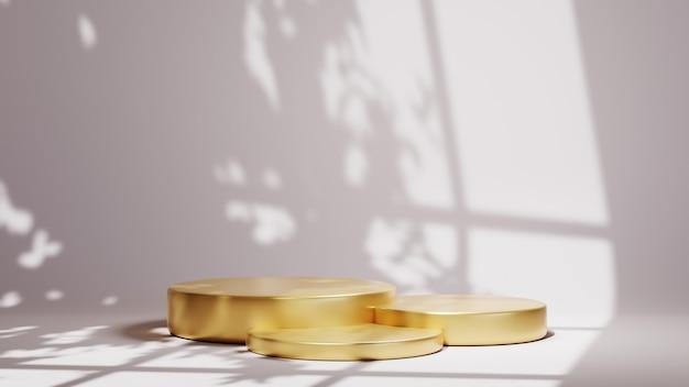 Renderização 3d de três pódios de ouro para a exibição de produtos em uma sala branca e um plano de fundo com sombra de janela. maquete para mostrar o produto.