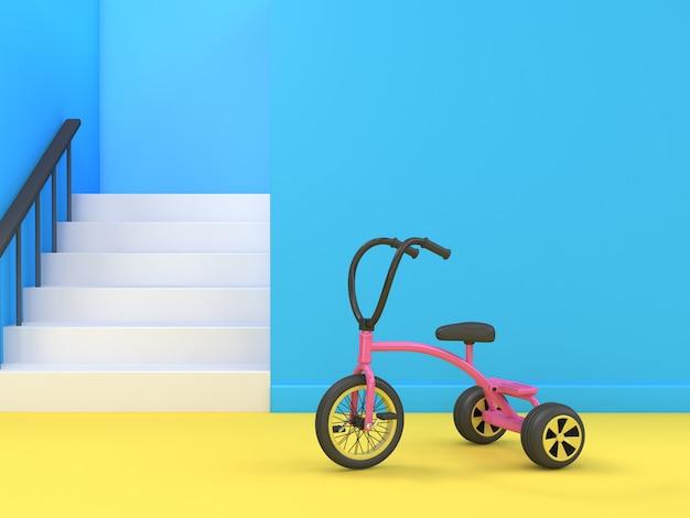 Renderização 3d de triciclo e escadas