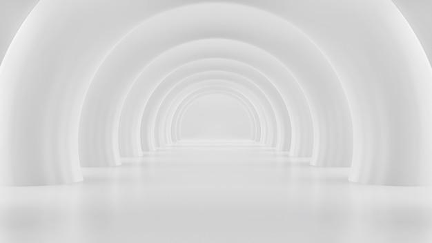 Renderização 3d de túnel branco com arcadas