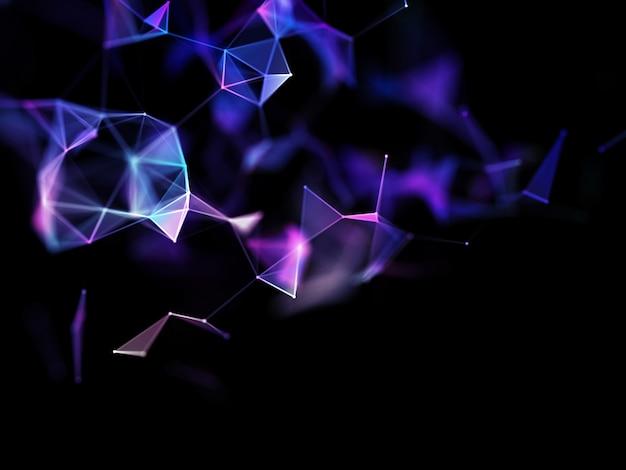 Renderização 3d de um abstrato com linhas e pontos de conexão, comunicações modernas