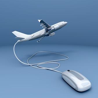 Renderização 3d de um avião conectado a um mouse