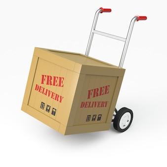 Renderização 3d de um carrinho de mão e entrega gratuita de carga