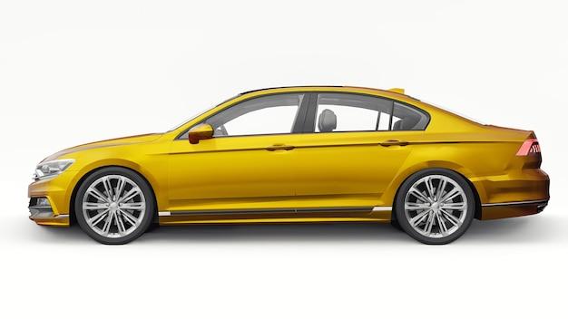 Renderização 3d de um carro laranja genérico sem marca em um ambiente de estúdio branco.