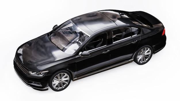 Renderização 3d de um carro preto genérico sem marca em um ambiente de estúdio branco. Foto Premium