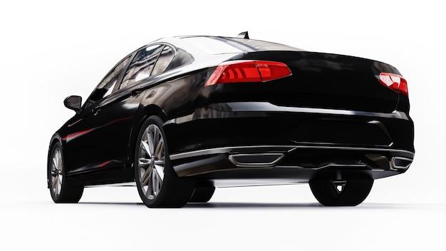 Renderização 3d de um carro preto genérico sem marca em um ambiente de estúdio branco.