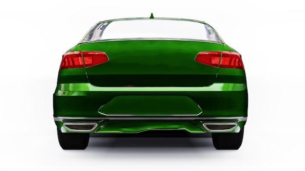 Renderização 3d de um carro verde genérico sem marca em um ambiente de estúdio branco.