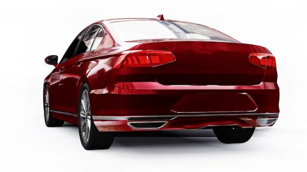 Renderização 3d de um carro vermelho genérico sem marca em um ambiente de estúdio branco.