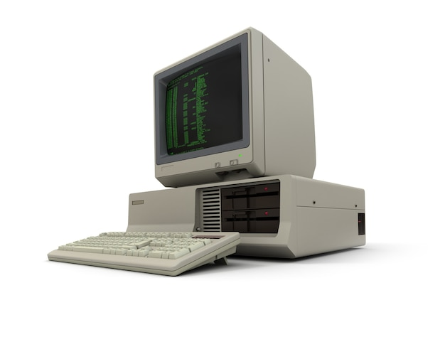 Renderização 3d de um computador pessoal vintage