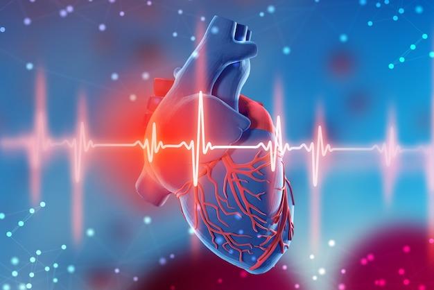 Renderização 3d de um coração humano e um eletrocardiograma