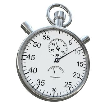 Renderização 3d de um cronômetro de prata em um fundo branco