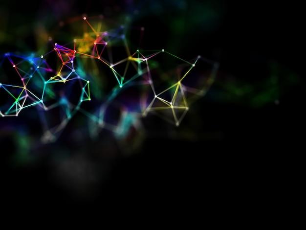 Renderização 3d de um desenho de poli plexo baixo colorido de arco-íris