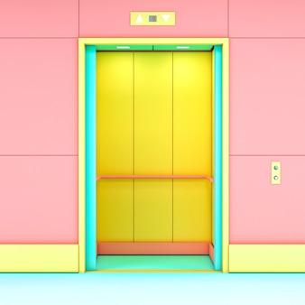 Renderização 3d de um elevador moderno