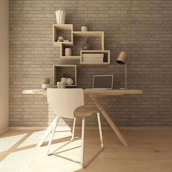 Renderização 3d de um escritório em casa moderna