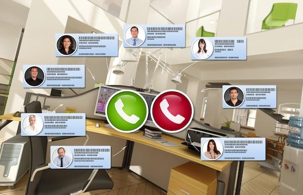 Renderização 3d de um escritório onde uma videoconferência está ocorrendo